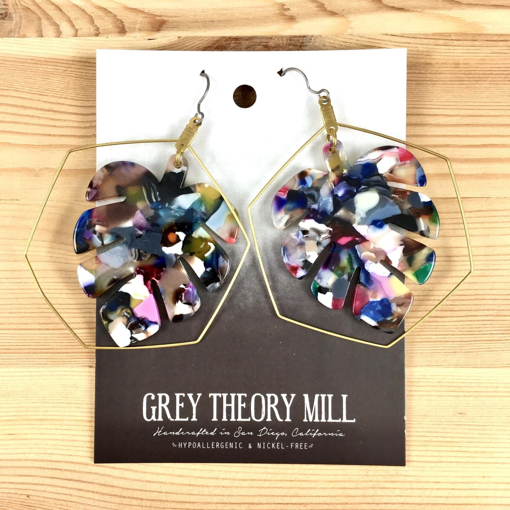 Grey Theory Mill Jewel: Monstera Tortoise Dangle Earrings