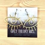 Grey Theory Mill Gold Eye Dangle Earrings