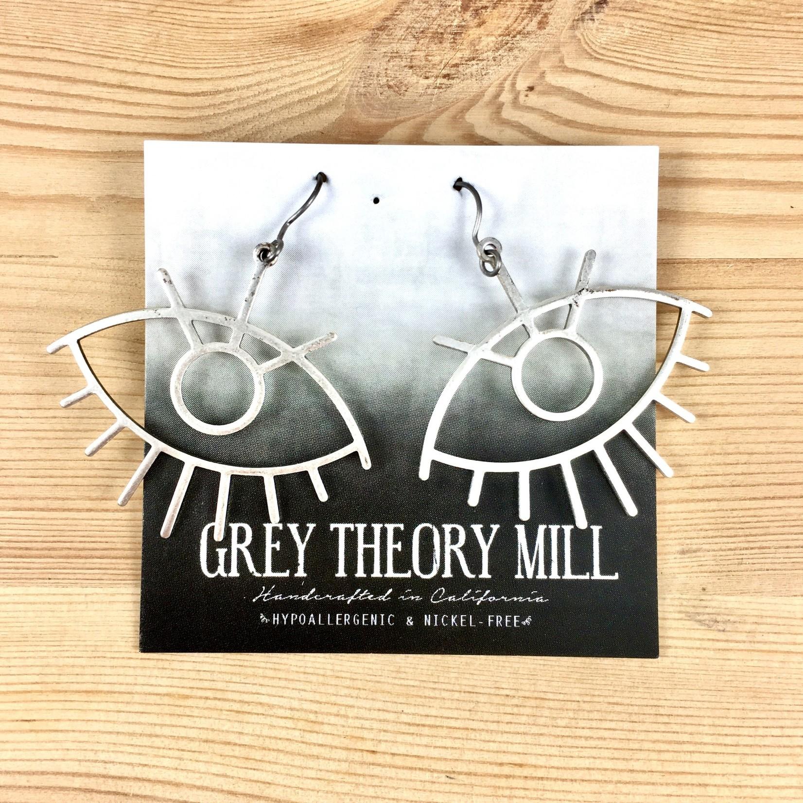 Grey Theory Mill Silver - Eye Dangle Earrings
