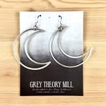 Grey Theory Mill Silver - Moon Dangle Earrings
