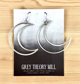 Grey Theory Mill Silver - Moon Dangle Earrings