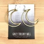 Grey Theory Mill Brass - Moon Crescent Dangle Earrings