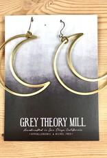 Grey Theory Mill Brass - Moon Crescent Dangle Earrings