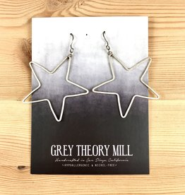 Grey Theory Mill Silver Star Dangle Earrings