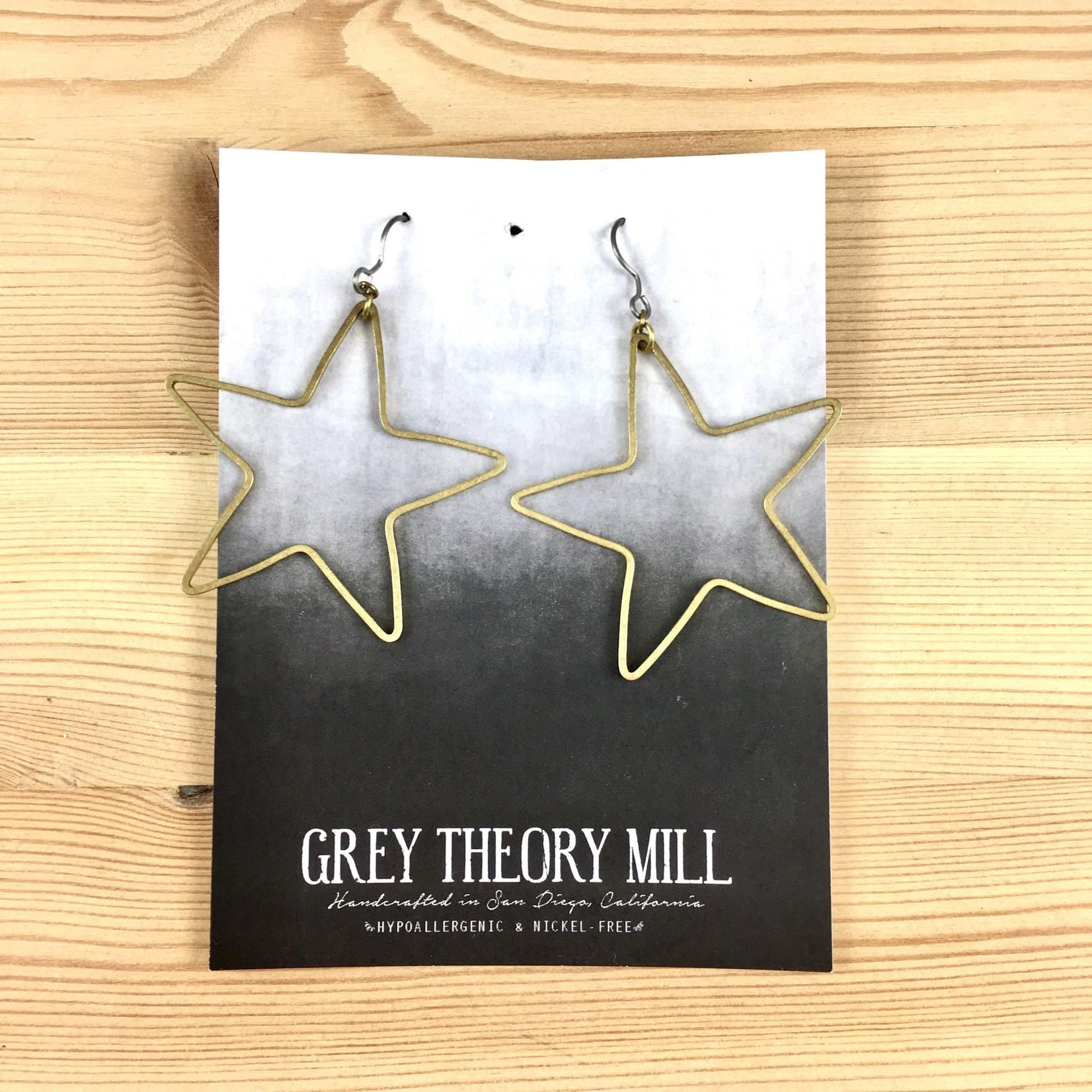 Grey Theory Mill Brass Star Dangle Earrings