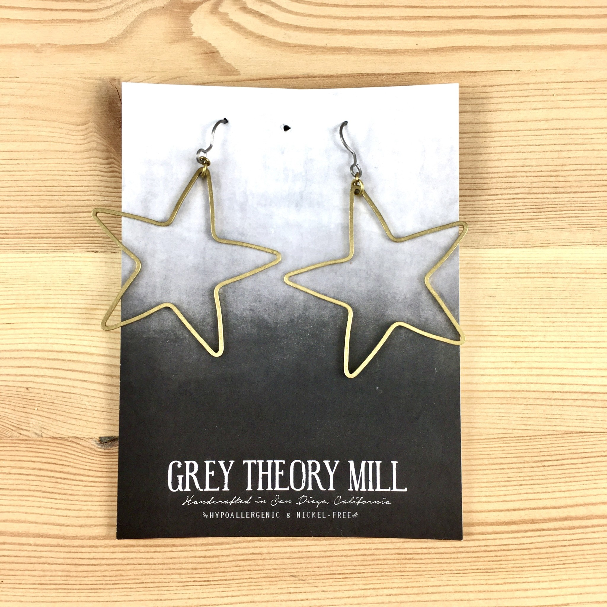 Grey Theory Mill Brass Star Dangle Earrings