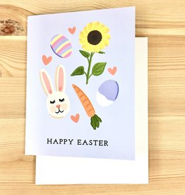 Bloomwolf Studio Blue Easter Bunny Greeting Card