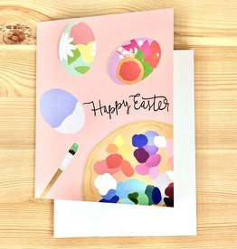 Bloomwolf Studio Easter Eggs Paint Pink Greeting Card