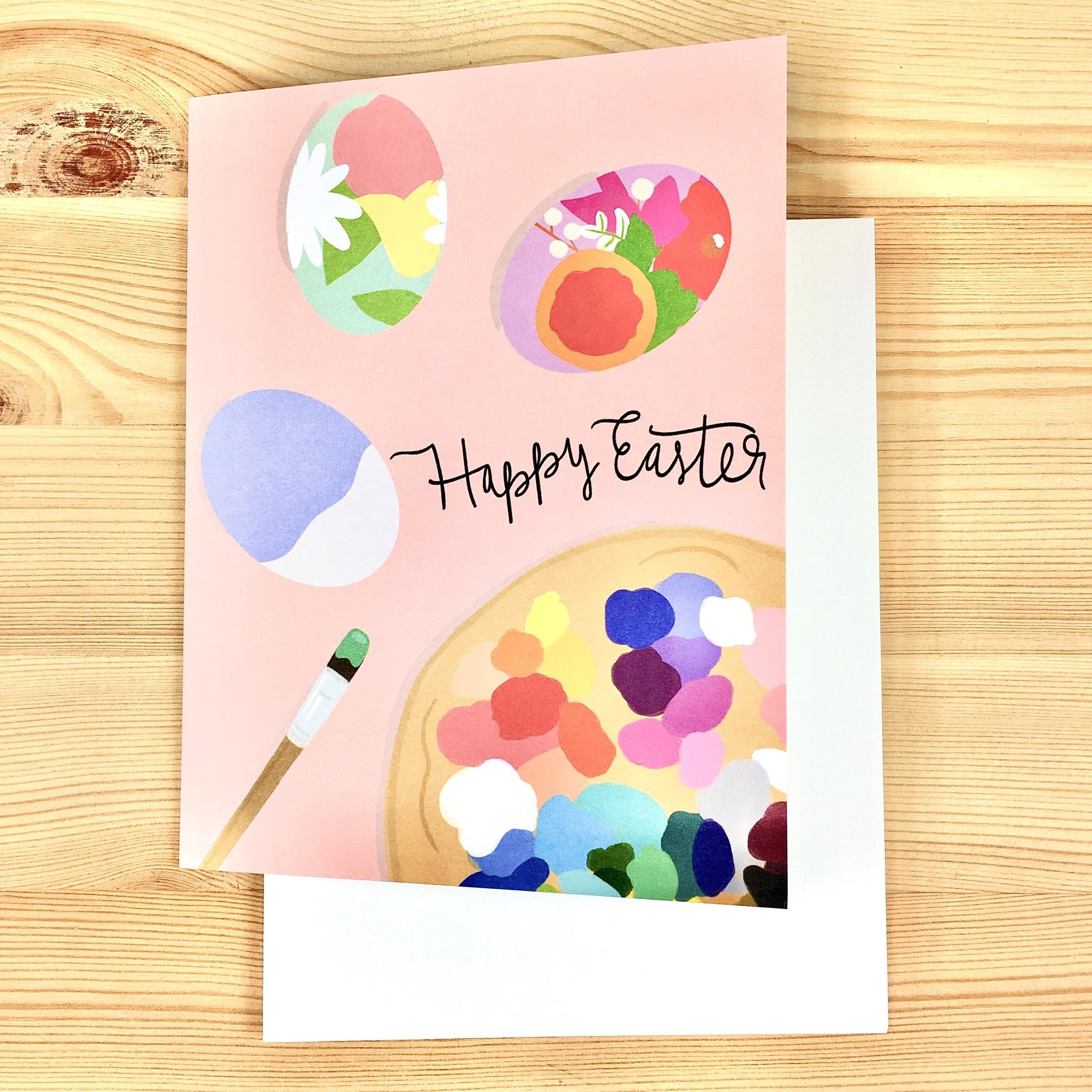 Bloomwolf Studio Easter Eggs Paint Pink Greeting Card