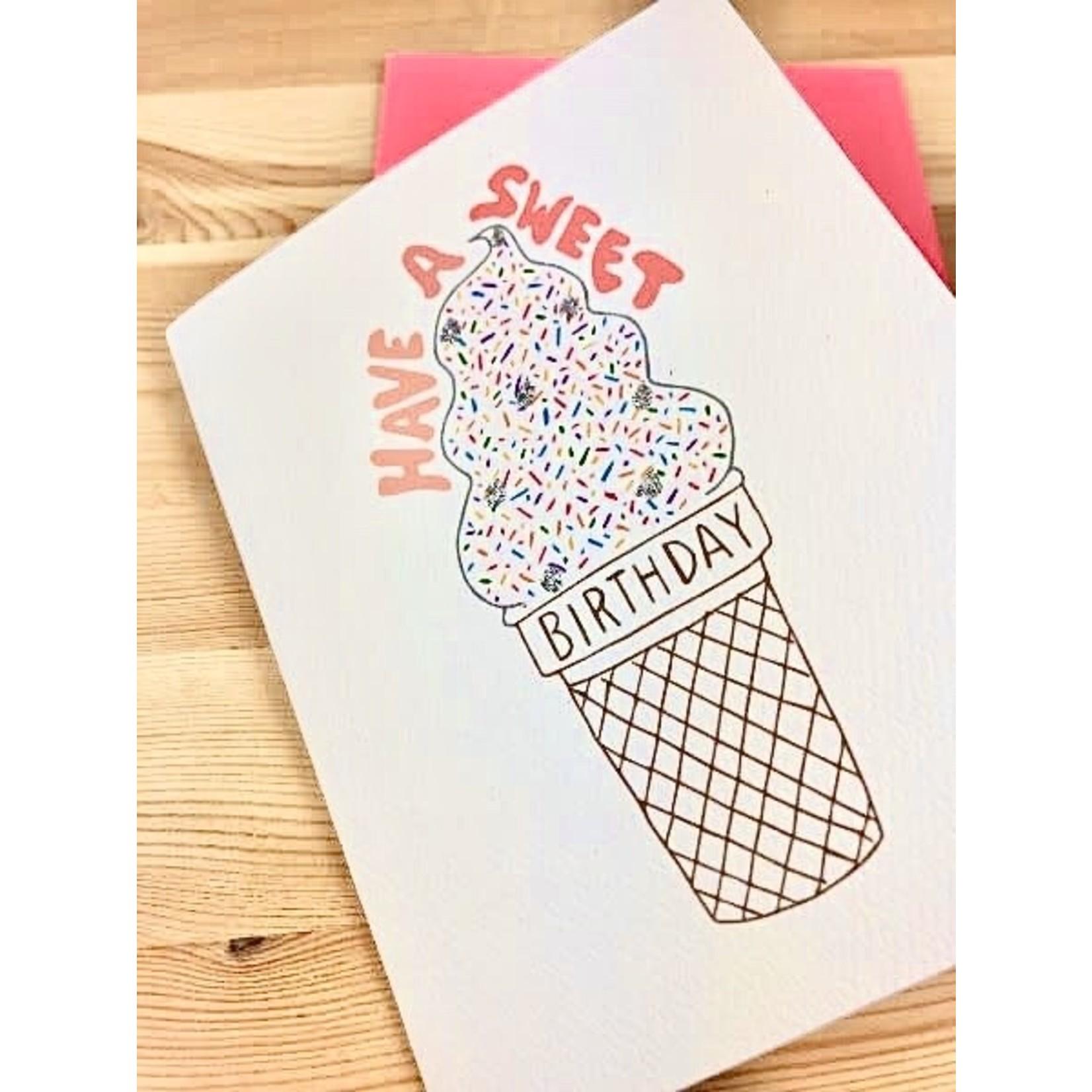 Cracked Designs Sweet Birthday Ice Cream Cone Greeting Card
