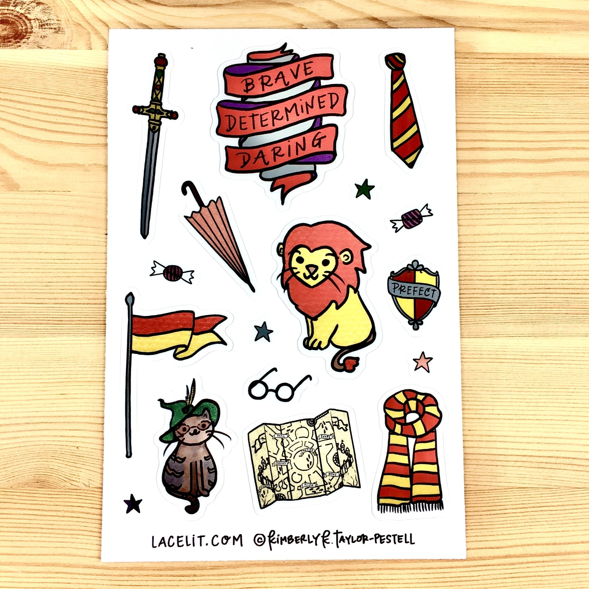 Lacelit Gryffinhouse Vinyl Sticker Sheet