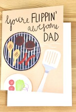 Bloomwolf Studio Flippin' Awesome Grill Dad Greeting Card