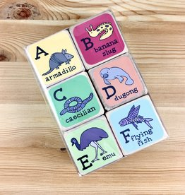 Jean Elise Designs Unusual Animal Alphabet Blocks - Set of 6