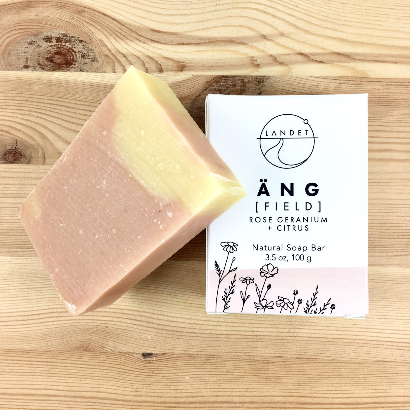 Landet Studio / KoenigCo. / Sunshine Raindrop Field (Ang): Rose Geranium + Citrus Bar Soap