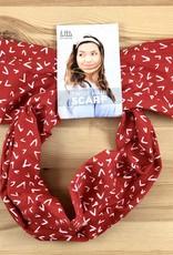 Little Minnow Designs Checkmarks On Red: Twist Hair Scarf