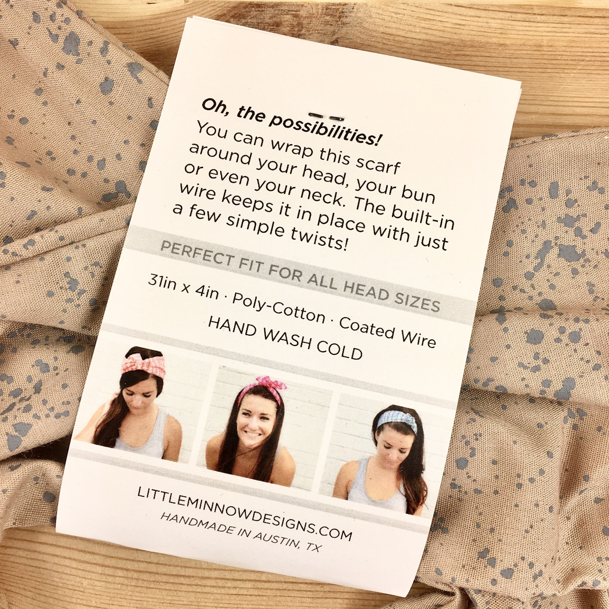 Little Minnow Designs Seaspray On Khaki: Twist Hair Scarf