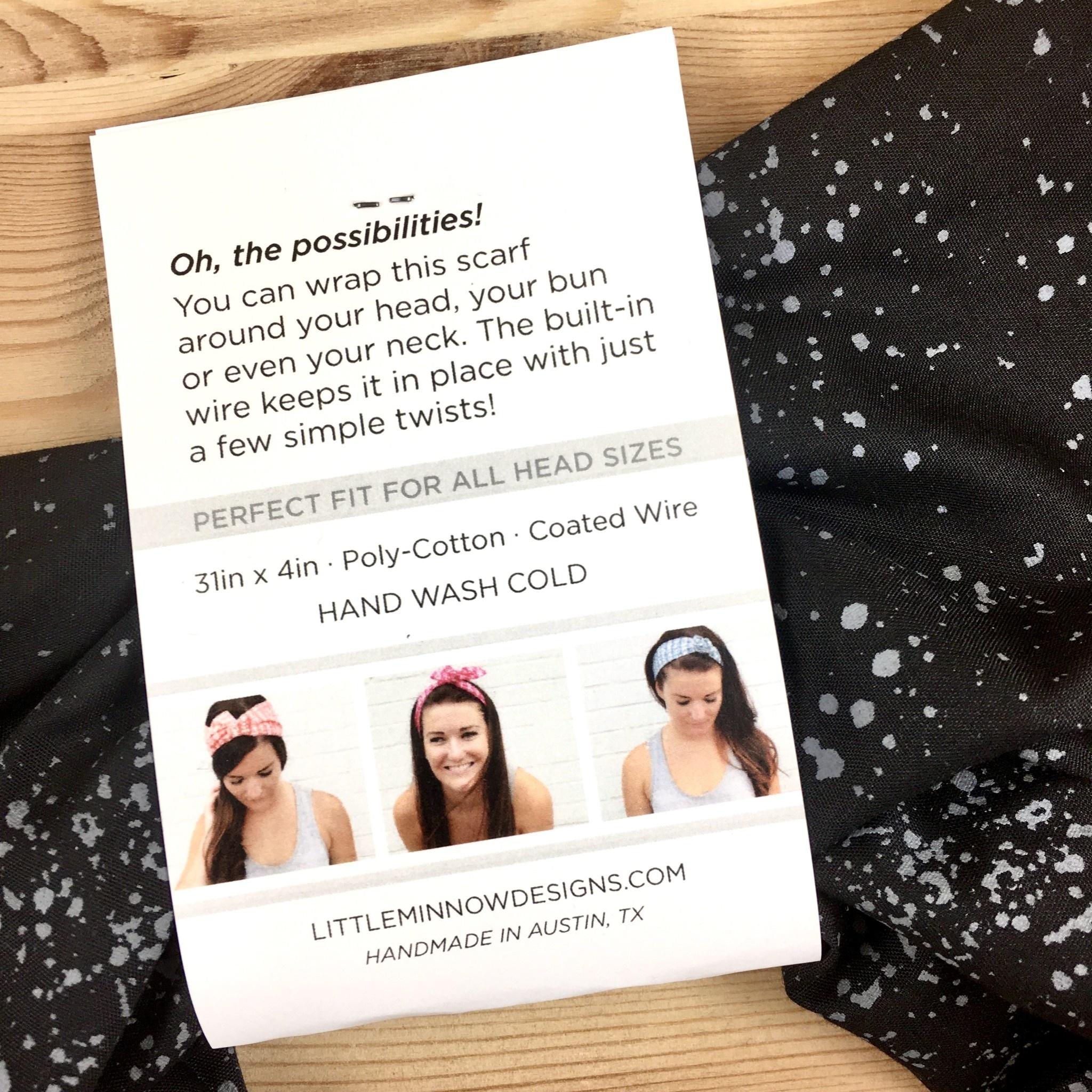 Little Minnow Designs Seaspray On Black: Twist Hair Scarf