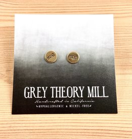 Grey Theory Mill Dog Mom Stamped Earrings