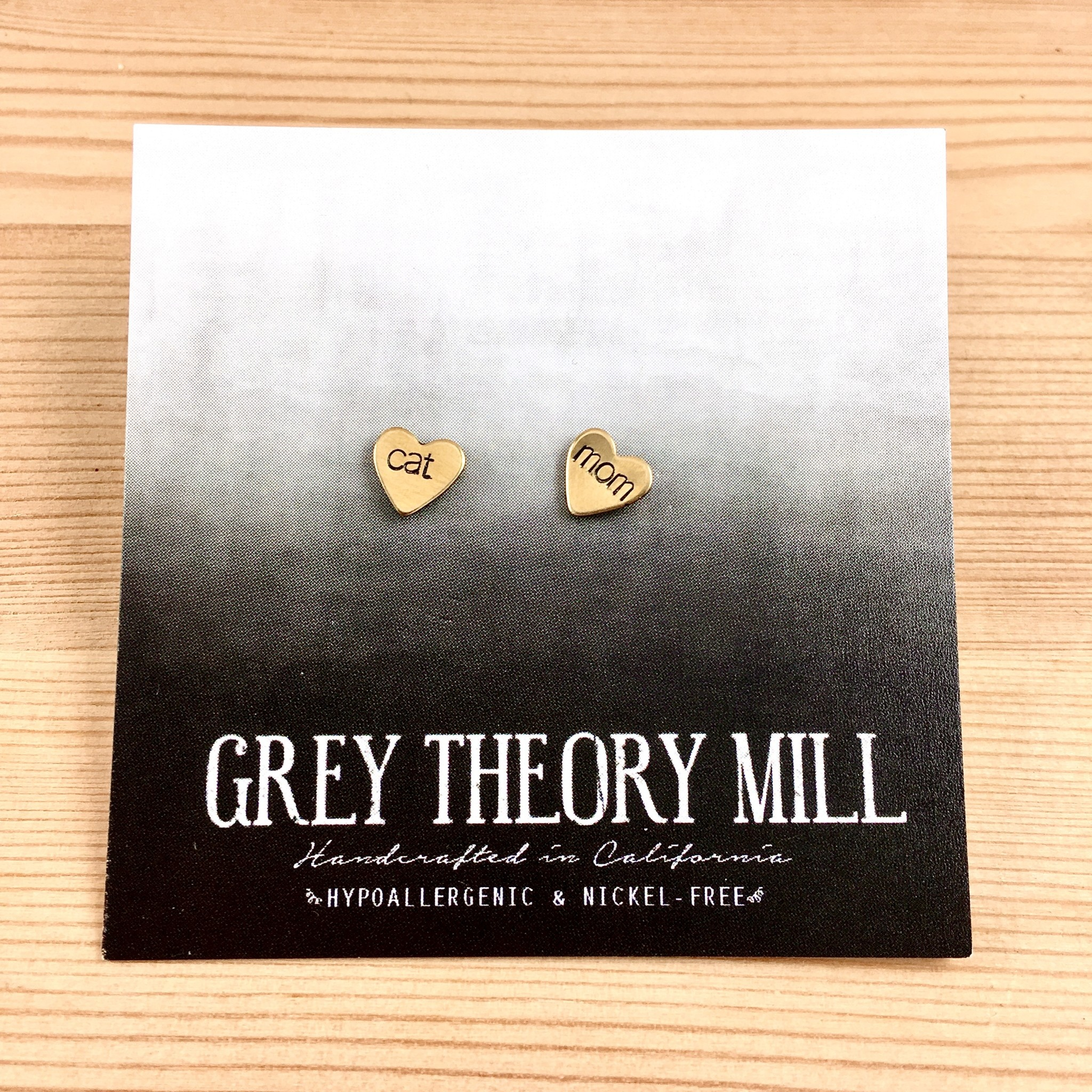 Grey Theory Mill Cat Mom Heart Stamped Stud Earrings