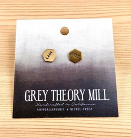 Grey Theory Mill Lady Boss Stamped Stud Earrings