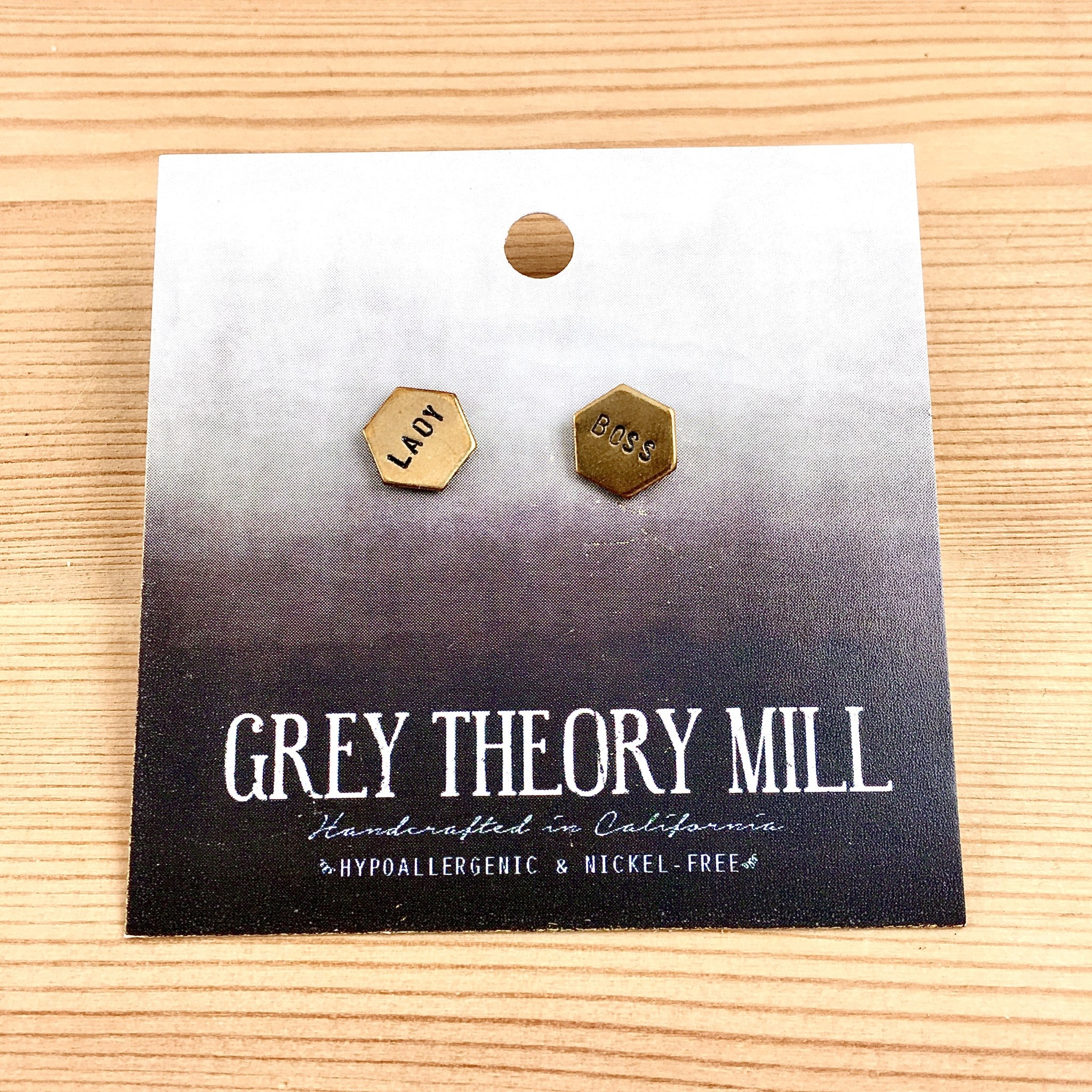 Grey Theory Mill Lady Boss Stamped Earrings