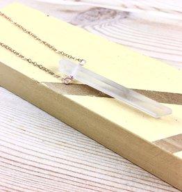 Salame Jewelry Design Pendulum Quartz Rose Gold Necklace