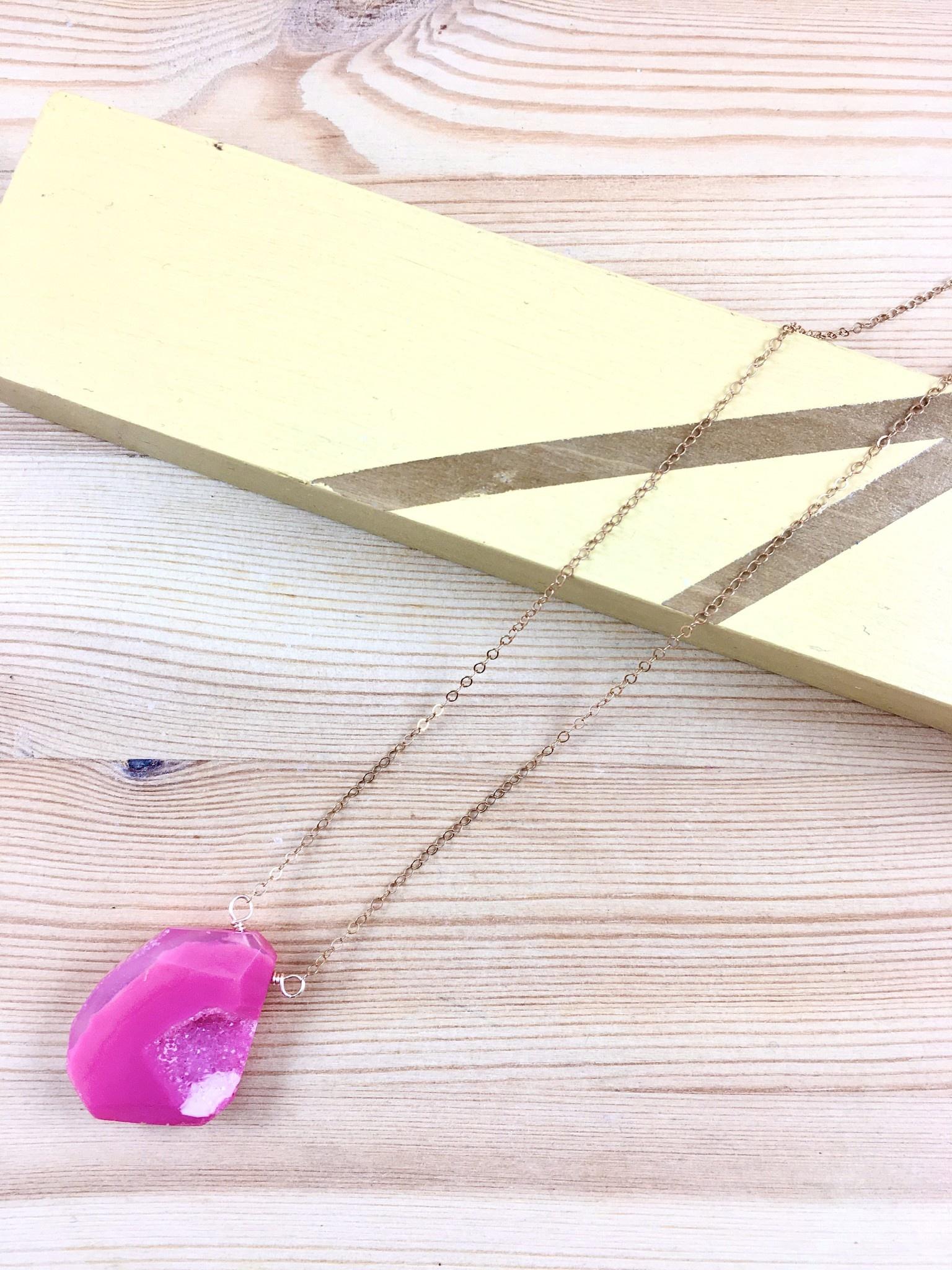 Salame Jewelry Design Drusy Quartz Rose Gold Necklace - M