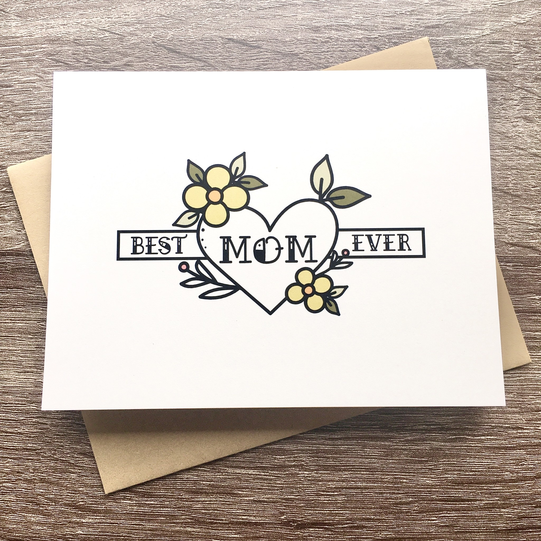 Box Berry Best Mom Ever Green Flowers Greeting Card
