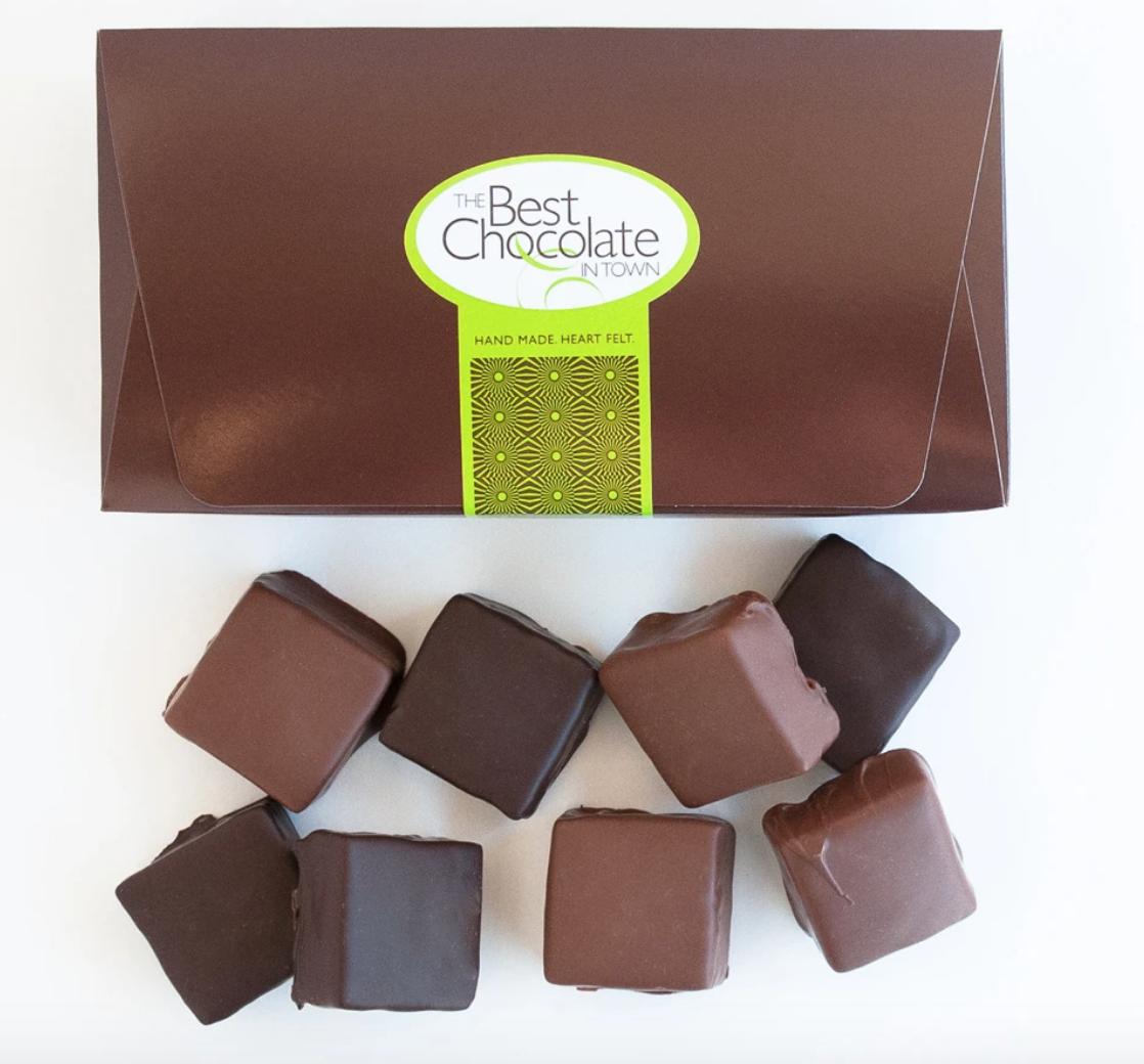 The Best Chocolate In Town Milk + Dark Chocolate Turtle Squares 8pc. Box