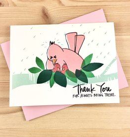An Open Sketchbook Mama Bird Thank You Greeting Card