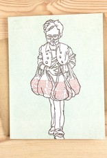 Bison Bookbinding & Letterpress Bag Lady Thank You Greeting Card