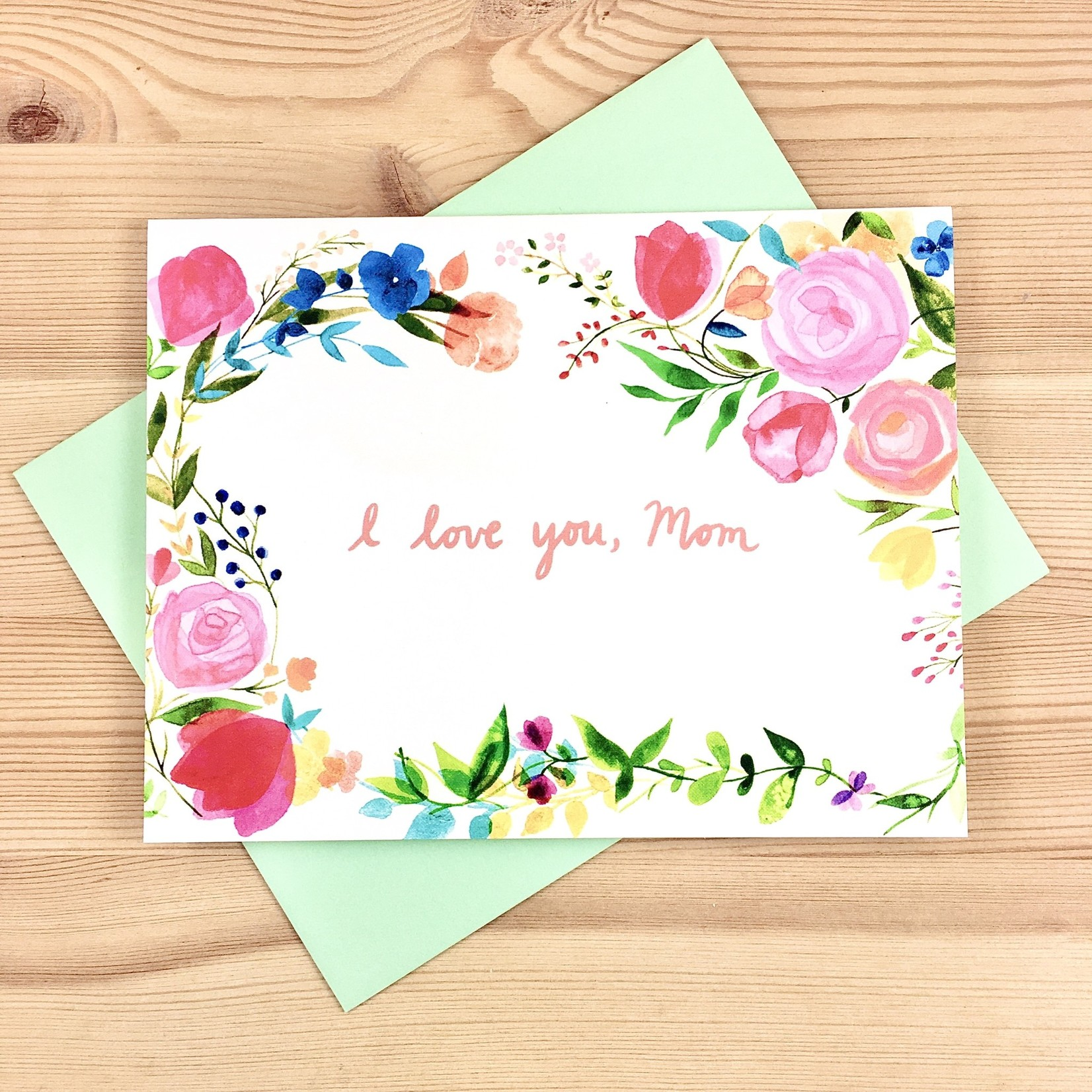 Meera Lee Patel (APO) Watercolor I Love You, Mom Florals Greeting Card