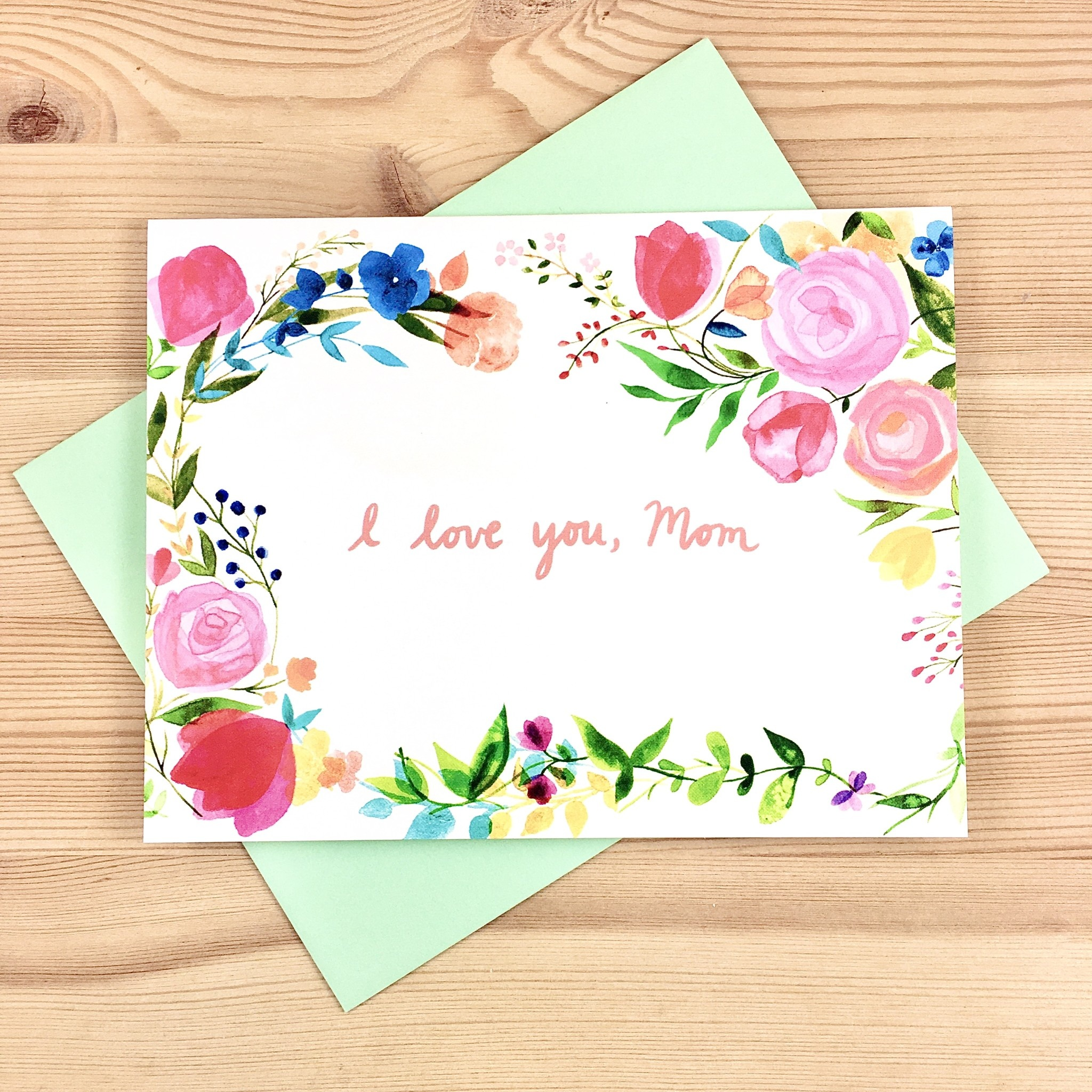 Meera Lee Patel Watercolor I Love You, Mom Florals Greeting Card