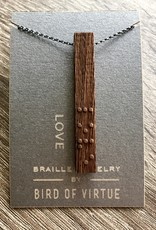 Bird of Virtue Platinum-Love: Unity Collection Braille Necklace