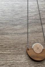 Bird of Virtue Ilsa Walnut (Gray-Rose Gold) Silver Necklace