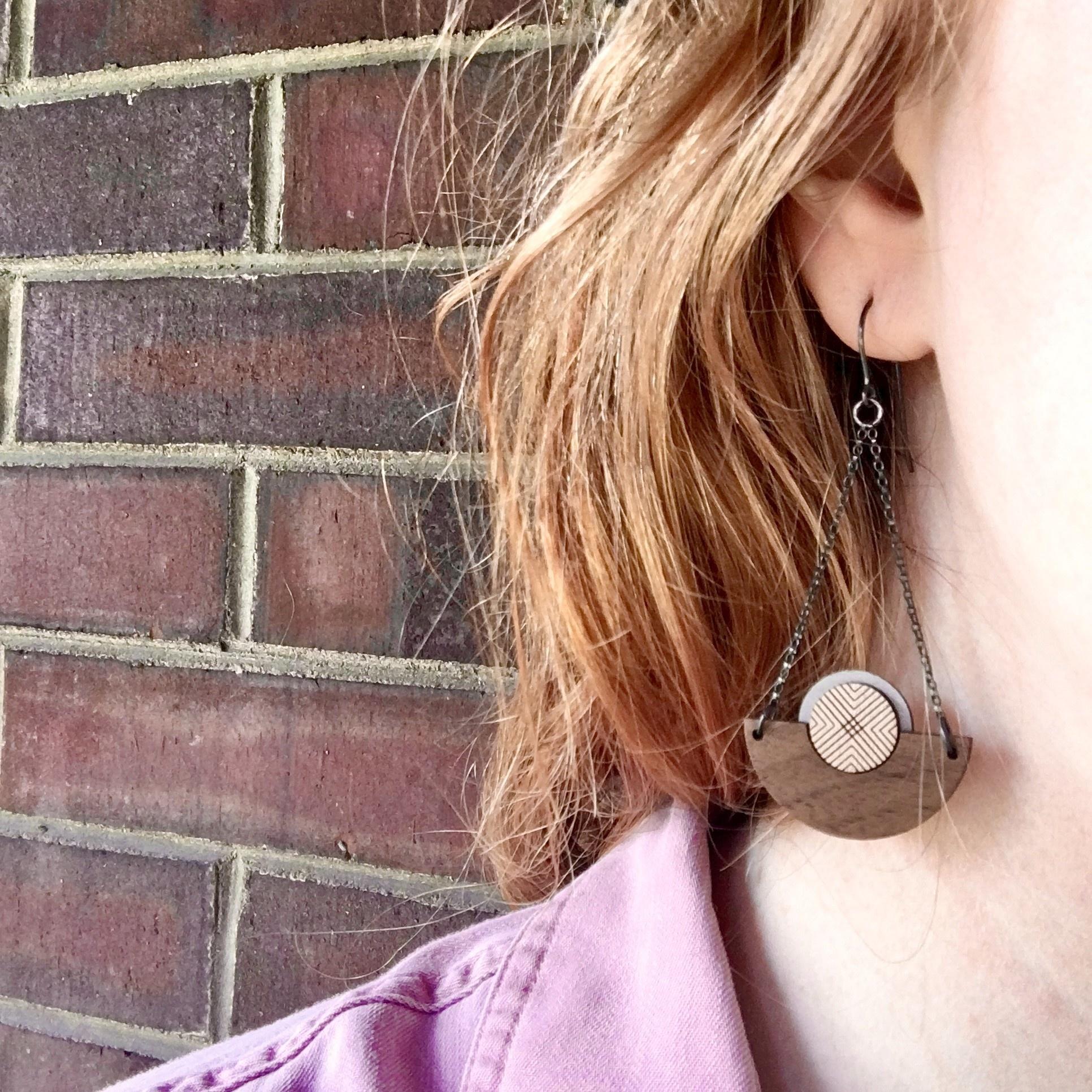 Bird of Virtue Ilsa: Silver Walnut Earrings (Warm Gray-Rose Gold)