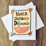 Kate Brennan Hall Illustration + Printmaking Nunca Olvides La Diferencia Greeting Card