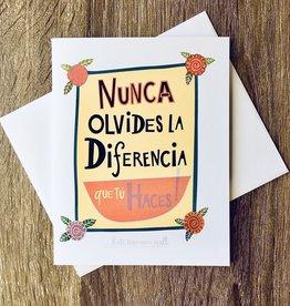 Kate Brennan Hall Illustration + Printmaking Nunca Olvides La Diferencia Greeting Card