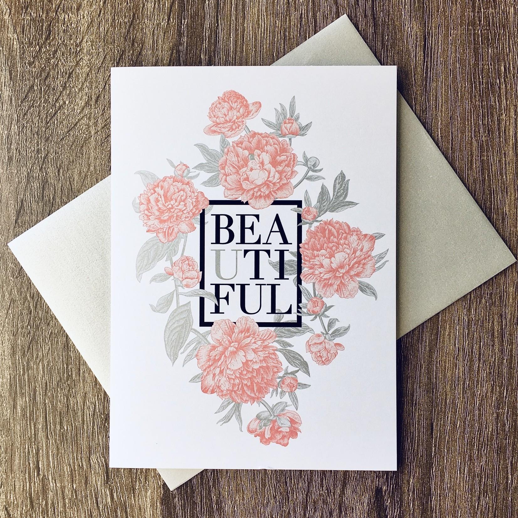 Design With Heart (QO) Pink Peonies Beautiful Greeting Card