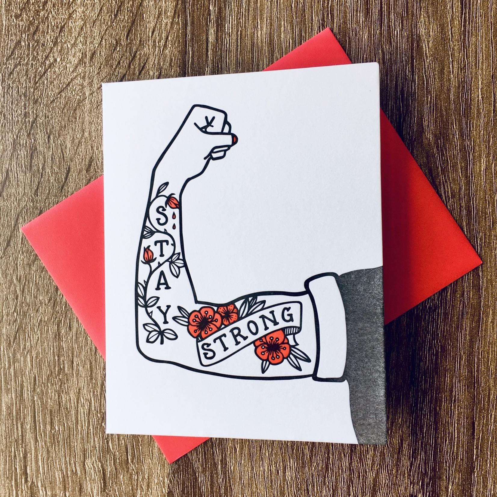 Big Wheel Press Stay Strong Arm Tattoo Greeting Card