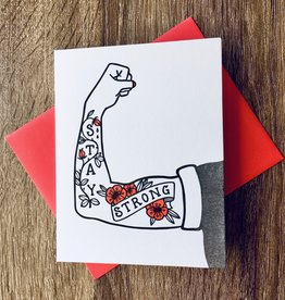 Big Wheel Press Stay Strong Arm Tattoo Greeting Card
