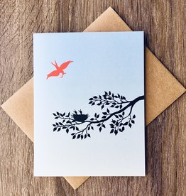 Little Lark Mama Bird Twig Greeting Card