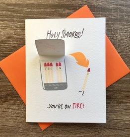 Cracked Designs Holy Smokes Matchbox Congrats Greeting Card