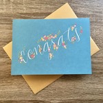 Champaign Paper Blue Floral Congrats Greeting Card