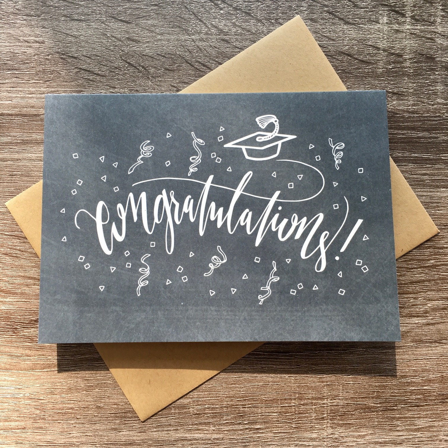 Champaign Paper Chalkboard Grad Congrats Greeting Card