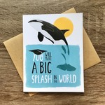 Paper Wolf Design Big Splash Orca Grad Greeting Card