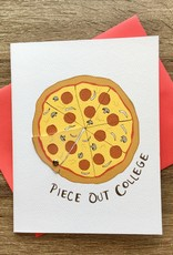 Cracked Designs Piece Out College Pizza Greeting Card