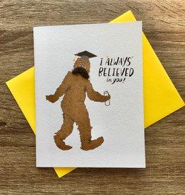 Cracked Designs Big Foot Grad Greeting Card
