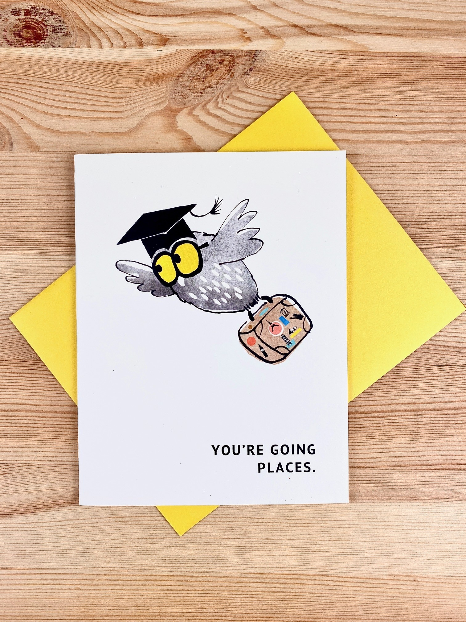 An Open Sketchbook Graduation Owl Greeting Card