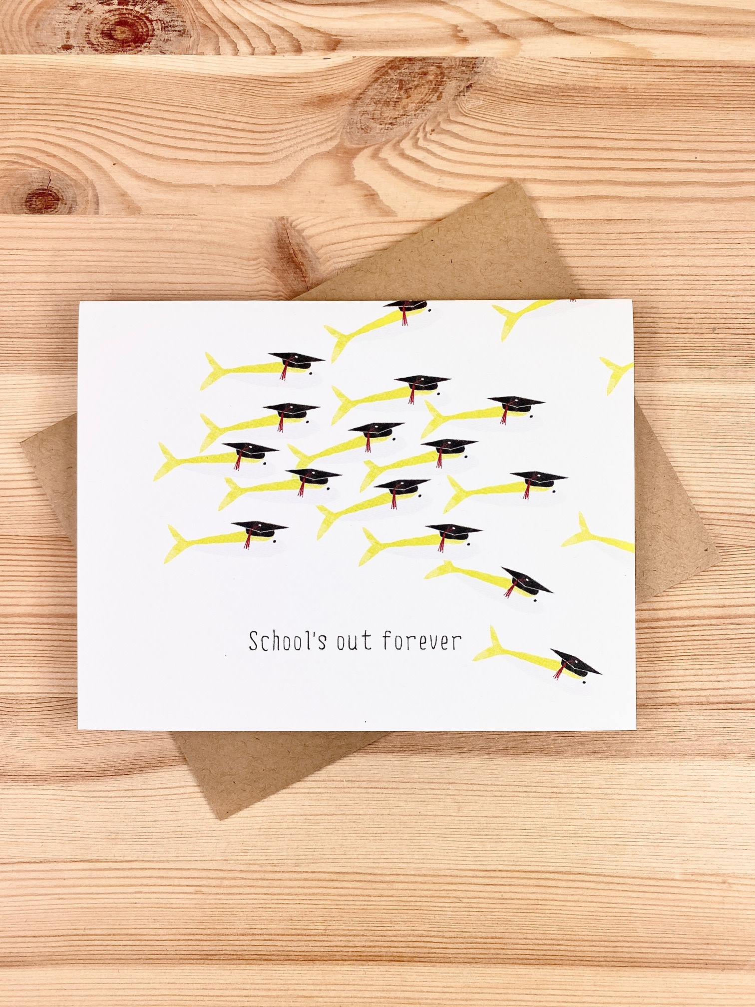 Paper Wolf Design School's Out Fish Greeting Card
